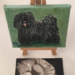 Painting on Easel - Dark Green background