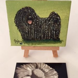 Painting on Easel - Green background